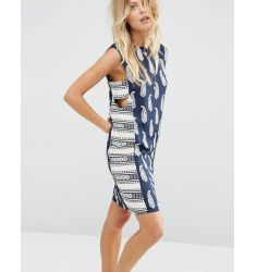 ASOS Mini Sundress in Mixed Print with Tab Side Detail