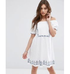 ASOS Off Shoulder Sundress with Border Embroidery