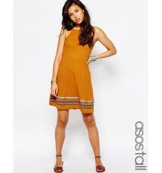 ASOS TALL Rib Swing Sundress with Tape Trim