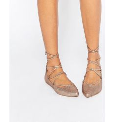 Steve Madden Eleanorr Rose Gold Wrap Ballerina Flat Shoes
