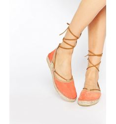 Free People Marina Coral Tie Up Espadrille Flat Shoes