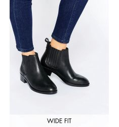 ASOS ABOUT TIME Wide Fit Leather Chelsea Boots