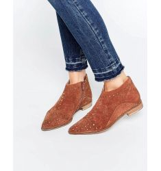 Free People Rust Aquarian Suede Studded Flat Ankle Boots