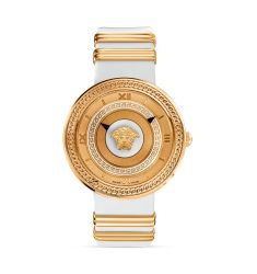 Versace V-Metal Rose Gold & White Dial Watch, 40mm