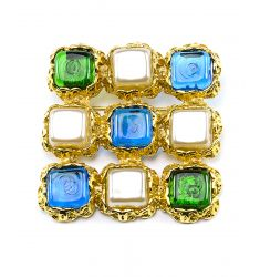Pre-Owned: Chanel Vintage Blue Green Square Gripoix Brooch