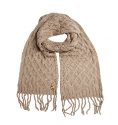 driftwood cable knit fringe muffler scarf