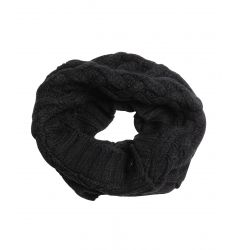 black cable knit fringe muffler scarf