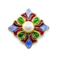 Pre-Owned: Chanel Poured Glass Pearl Four Point Brooch