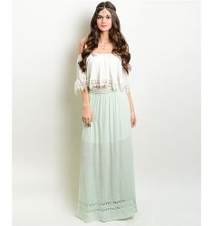 Mint Embroidered Maxi Skirt