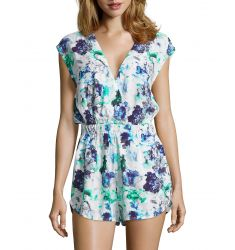 blue and green tropical floral print crepe sleeveless romper