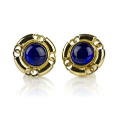 Pre-Owned: Chanel Vintage Blue CC Round Earrings