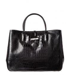 Longchamp Roseau Croco Embossed Leather Tote