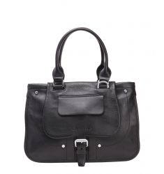 black leather buckle front tote bag