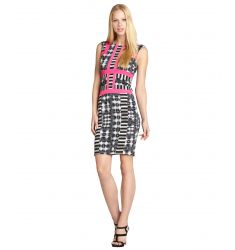 black, white and hot pink patterned 'Elouise' sheath dress