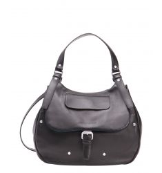 black leather convertible hobo shoulder bag