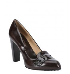 brown leather penny loafer pumps