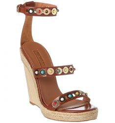 Aquazzura Byzantine Studded Leather Espadrille Wedge