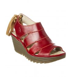 FLY London Yown Leather Wedge Sandal