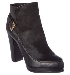 Nicole Miller Flora Leather & Haircalf Bootie