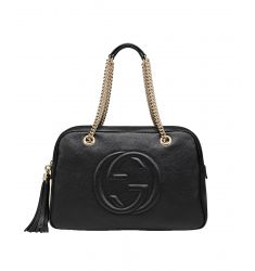 Soho Leather Chain Shoulder Handbag Black