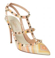 Valentino Rockstud Native Couture Leather Ankle Strap Pump