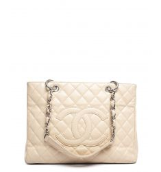 Pre-Owned Chanel Beige Clair Caviar Grand Shopping Tote GST Bag