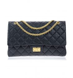 Pre-Owned: Chanel Black Aged Calfskin Reissue 227 GHW Double Flap Bag
