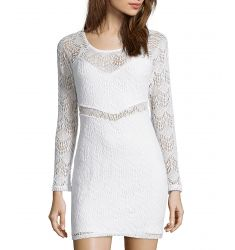 white lace fitted long sleeve dress