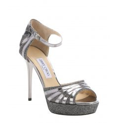 anthracite leather and lame glitter 'Deema' platform sandals