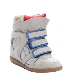 taupe and blue suede 'Over Basket' wedge sneakers