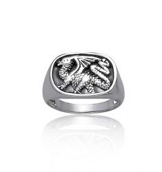 Bling Jewelry 925 Sterling Silver Dragon Ring for Men Antique Style