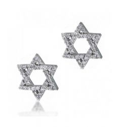 Bling Jewelry CZ Pave Star of David Stud Earrings 925 Sterling Silver