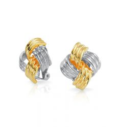 Bling Jewelry Two Tone Square Woven Love Knot Clip On Earrings Large