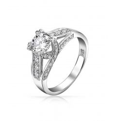 Bling Jewelry Vintage Criss Cross Round CZ Solitaire Engagement Ring 925 Silver