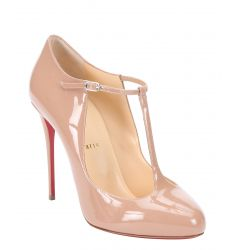 nude patent leather 'Tpoppins 100' t-strap pumps