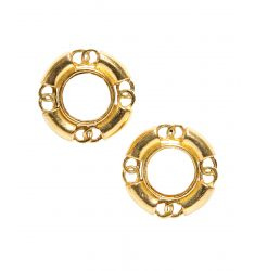 Pre-Owned Chanel Faux Pearl Gold CC Vintage Clip On Earrings
