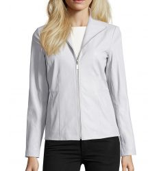 alabaster leather zip front wing collar jacket
