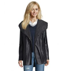 black faux leather trimmed faux shearling shawl collar coat