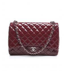 Pre-Owned Chanel Red Patent Leather Maxi Double Flap Bag