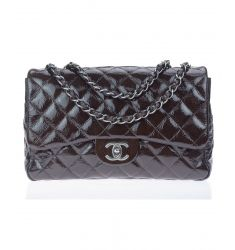 Pre-Owned: Chanel Brown Crackled Leather Jumbo Flap Bag