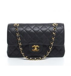 Pre-Owned Chanel Black Caviar Small Double Flap Bag
