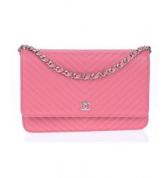 Pre-Owned: Chanel Pink Caviar Leather Chevron WOC Wallet On Chain Bag