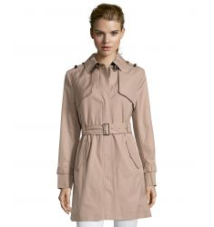 dune faux leather trimmed zip front trench coat