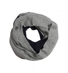 navy and grey mixed knit colorblock infinity scarf