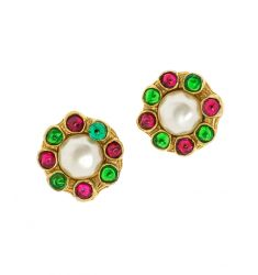 Pre-Owned: Chanel Gripoix Faux Pearl Clip On Vintage Earrings