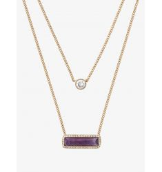 Gold-Tone Amethyst Double-Strand Necklace