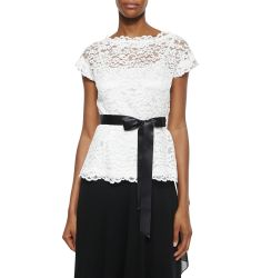 Short-Sleeve Belted Lace Top & Ruffle Draped Maxi Skirt