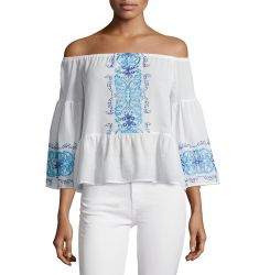 Santori Off-The-Shoulder Embroidered Top, White