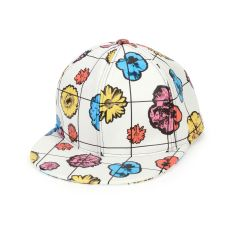Floral Leather Baseball Cap, White/Multicolor