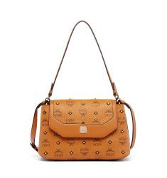 Gold Visetos Small Satchel Bag, Cognac